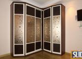 Угловой шкаф-купе, двери комбинированные эко-кожа + зеркало с рисунком